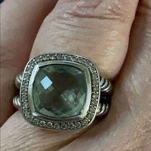 David Yurman Albion Ring Prasiolite and Diamonds